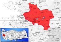 Ahmetli ilçesinin nerede olduğunu gösteren harita