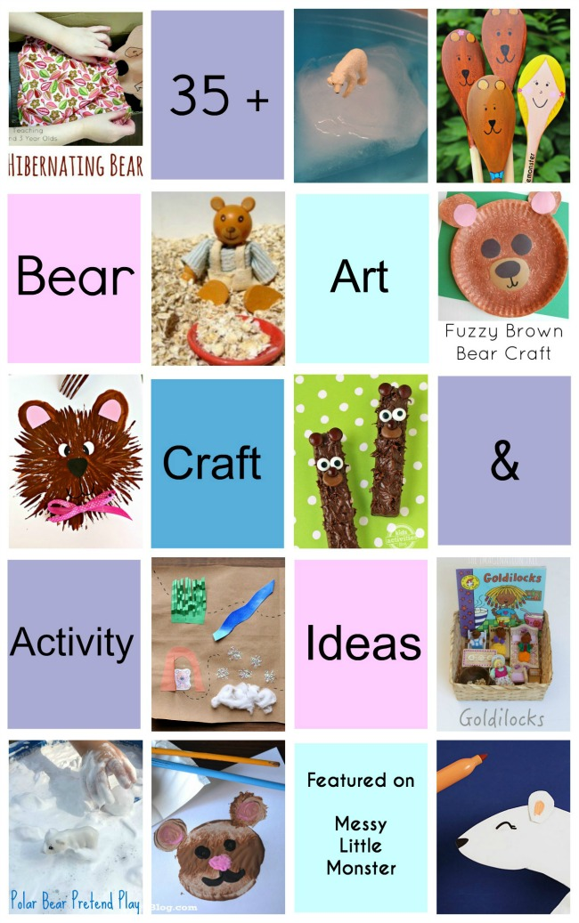 35+ Bear themed art craft and activity ideas for toddlers and preschoolers EYFS