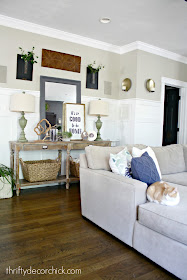 Decorating a hall table in family room