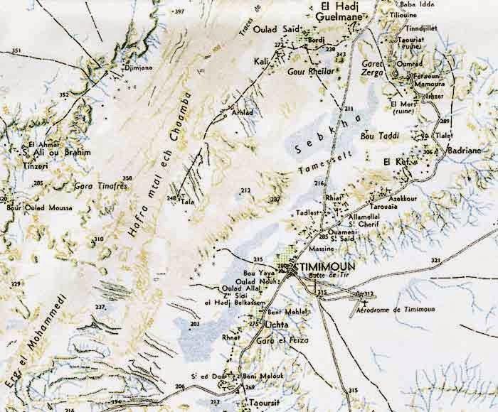 Carte de la région de Timimoun