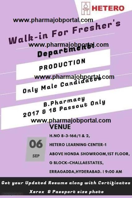 HETERO  Walk In for B.Pharm Freshers at 6 Sept