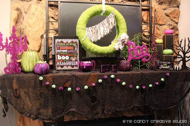 halloween mantel deorating ideas, halloween home decor, crafts