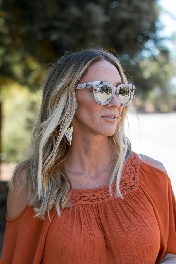 gold and marble earrings marble sunglasses