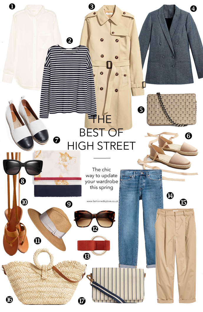 Best high street buys for spring/summer 2017 under £70, wardrobe classics, jeans, trench, Chanel-inspired espadrilles, sandals, jeans, trench & blazer via www.fashionedbylove.co.uk british fashion & style blog