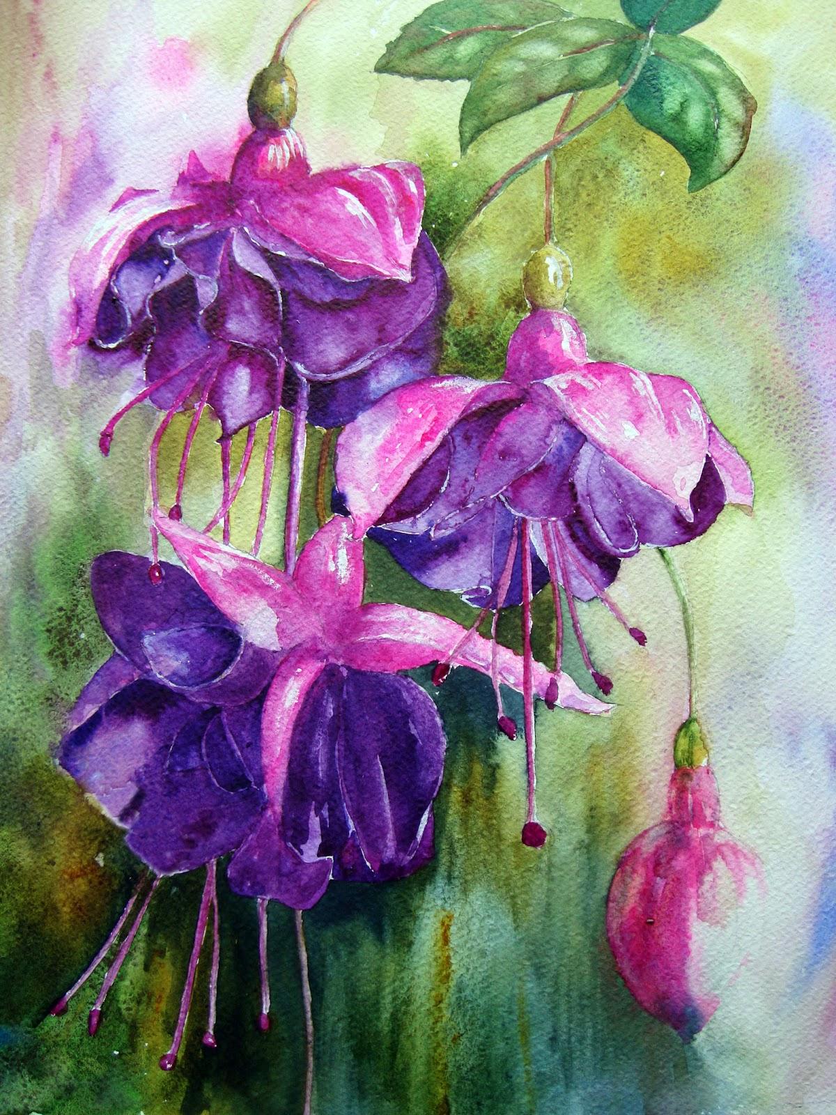 Watercolour Florals Quinachridone Purple