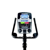 Schwinn 170's console, image, with blue backlit Dual Track screen