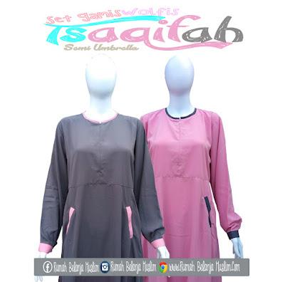 Gamis Jilbab Cadar Tsaqifah Semi Umbrella Abu - Pink