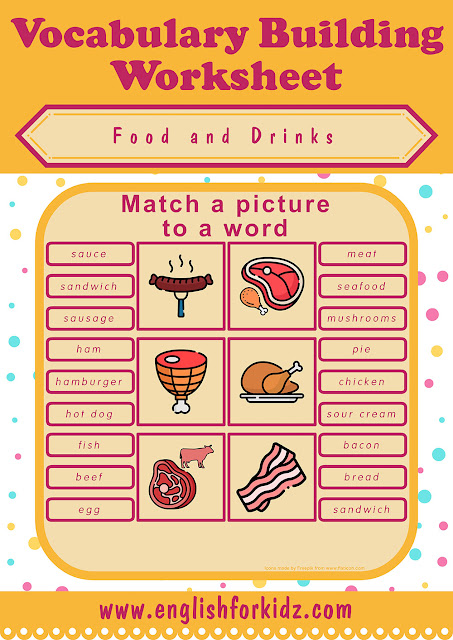 Printable food and drinks worksheet - free ESL resources