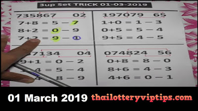 Thai lottery non miss htf single sure 3Up pair 01 March 2019