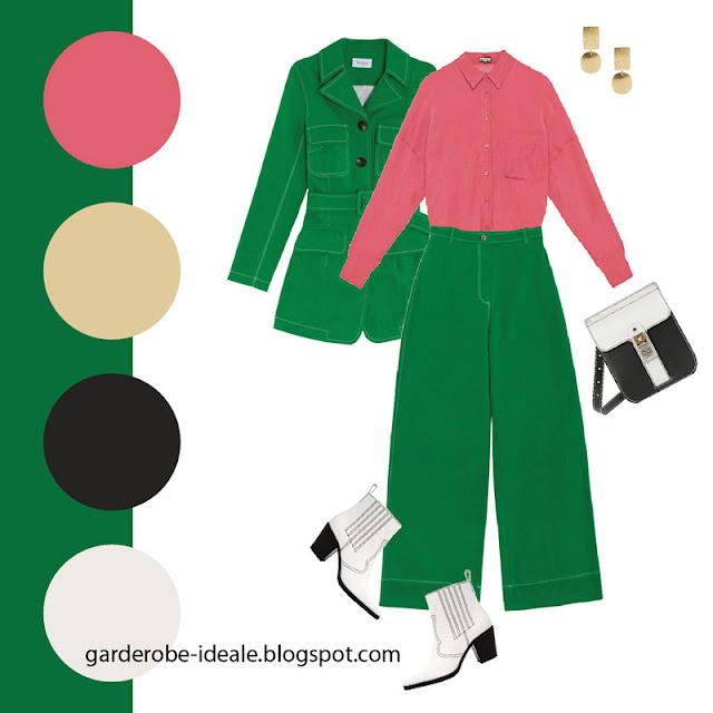 Зеленый костюм в утилитарном стиле с коралловой блузкой