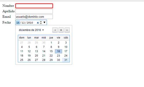 Implementación de selector de fecha en HTML5