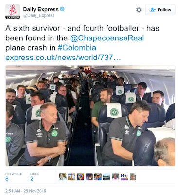 Photos of some survivors of the Brazillian footballers flight that crashed