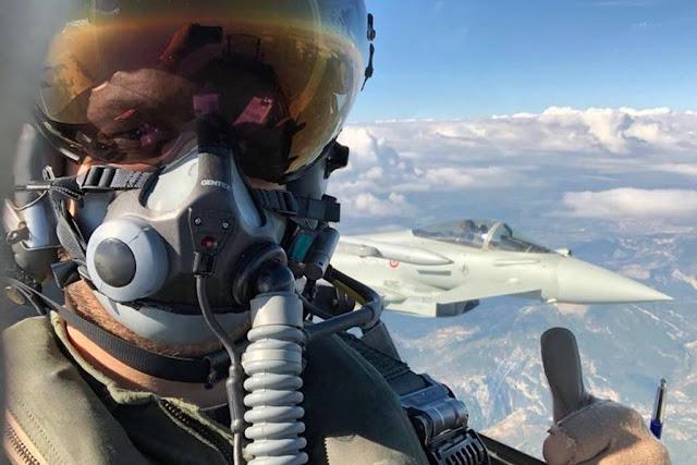Belgian F-16 training Italian Eurofighter