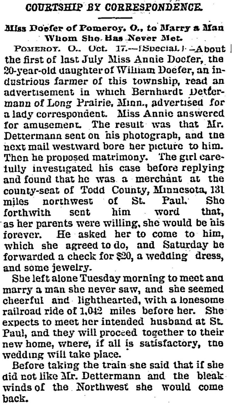 Mail order brides 1800s
