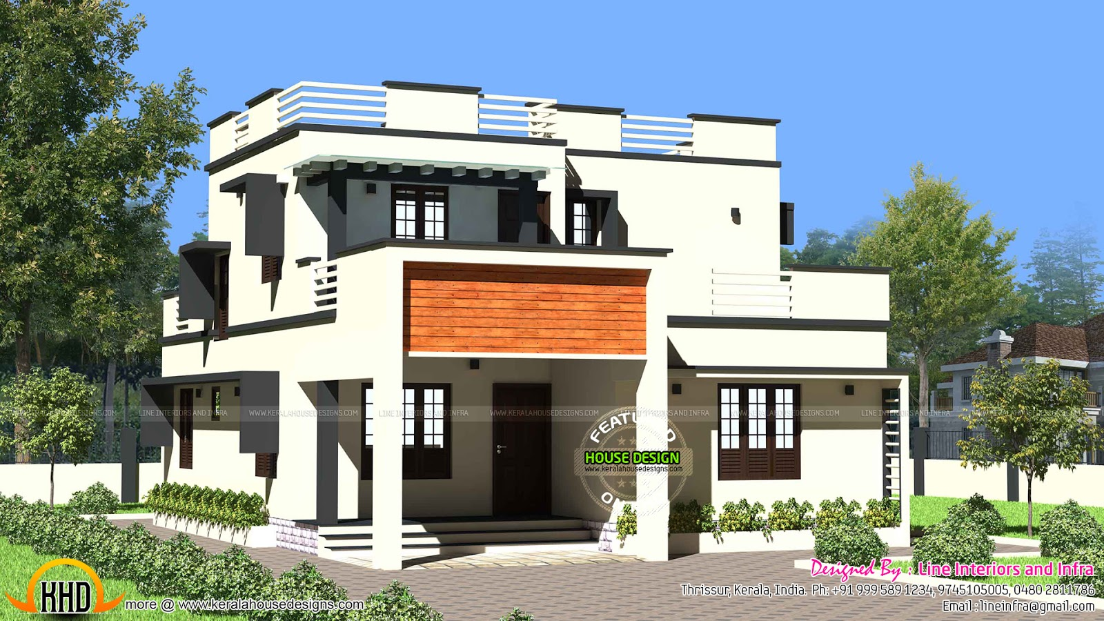 1900 sq ft modern flat roof house kerala home design and for Pictures of house designs and floor plans