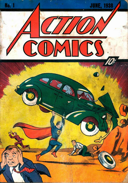 Action Comics v1 #1, 1938 DC golden age comic book cover - Origin and 1st appearance Superman