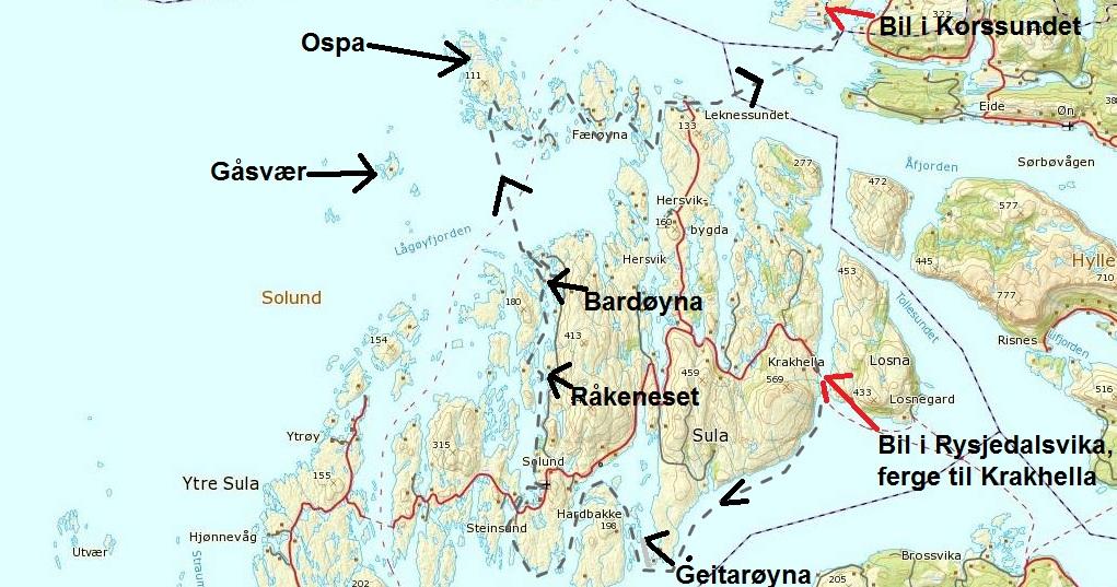 kart over solund Lene sin!: Solund rundt på tre dagar kart over solund