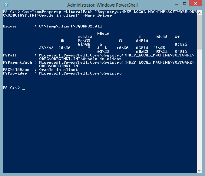 PowerShell Get-ItemProperty cmdlet returns garbled registry