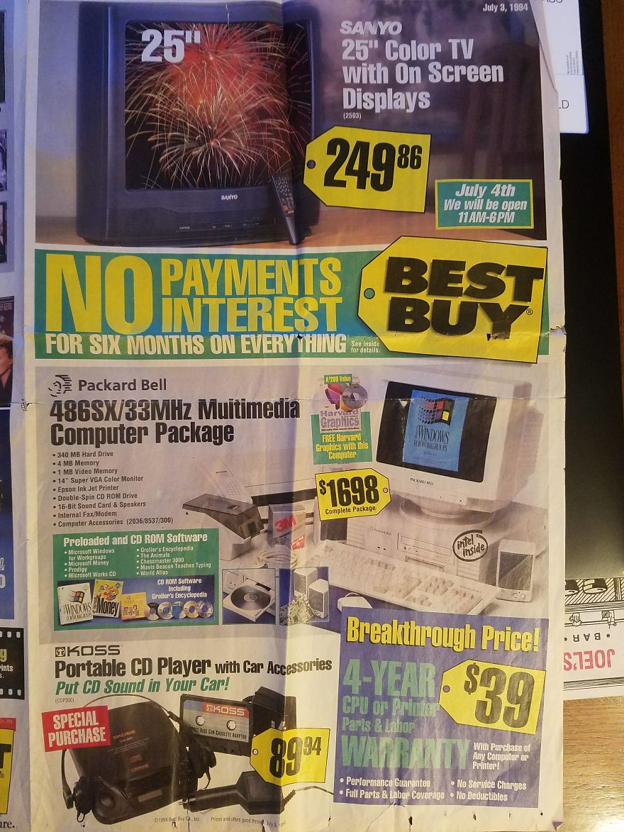 this best buy paper ad from 1994 shows the hottest technology from days gone by