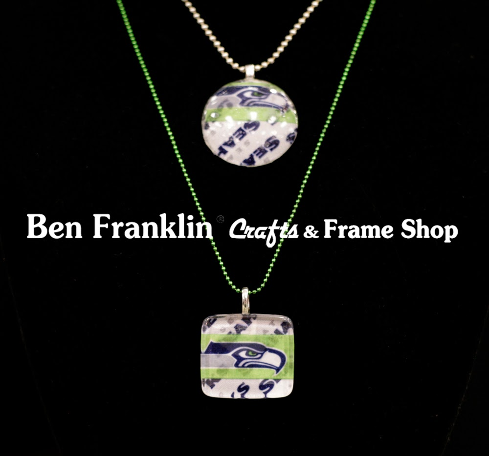 Ben franklin crafts and frame shop 12th man projects for seahawks christy shows us how easy it is to create this seattle seahawks glass tile pendant necklace all of the supplies for this craft project can be found at ben jeuxipadfo Choice Image