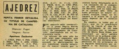 Recorte de la revista Destino con la partida de ajedrez Puget vs. Ferrer