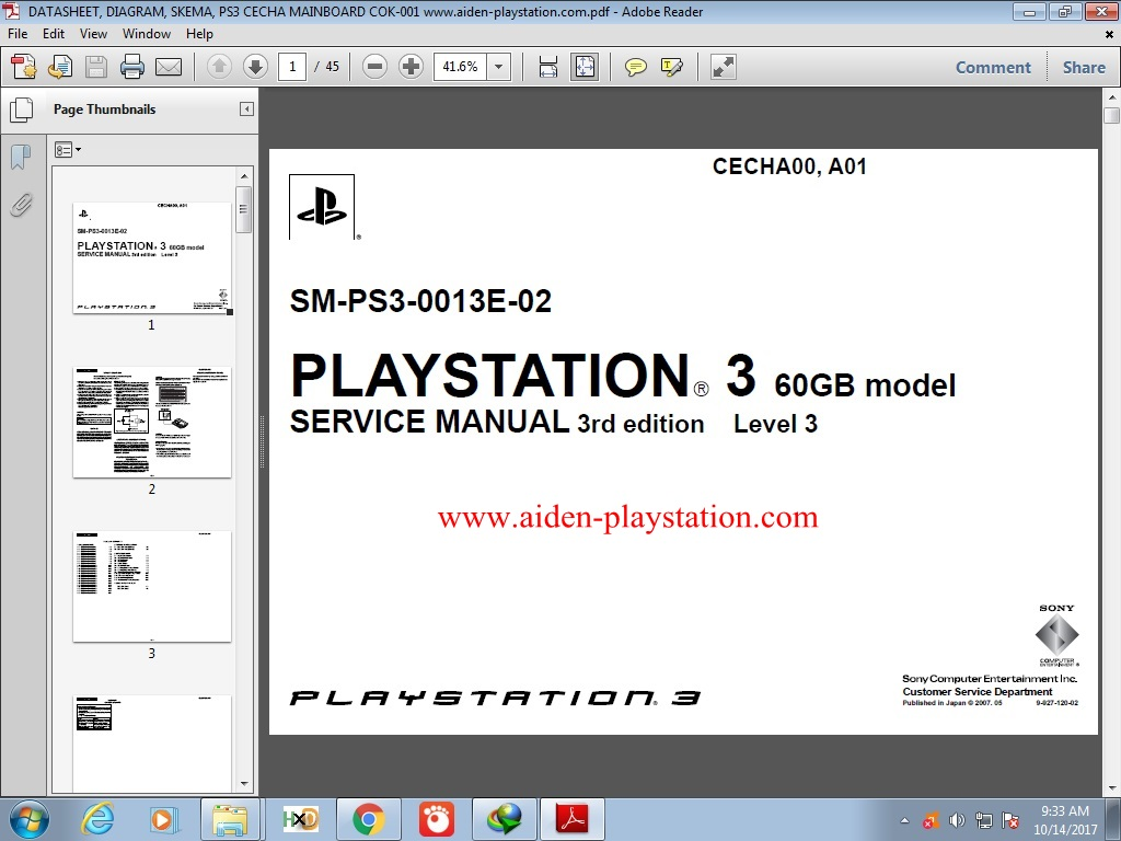 Aiden Playstation: DOWNLOAD DATASHEET / DIAGRAM / SKEMA PS3