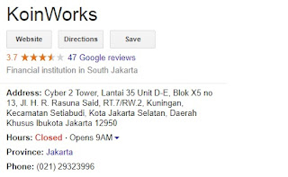 Review-alamat-no Telephone Koinworks - Gambar google review