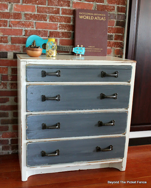 rustic, industrial, dresser, fusion mineral paint, paint makeover, garage sale find, http://bec4-beyondthepicketfence.blogspot.com/2016/06/rustic-industrial-dresser.html