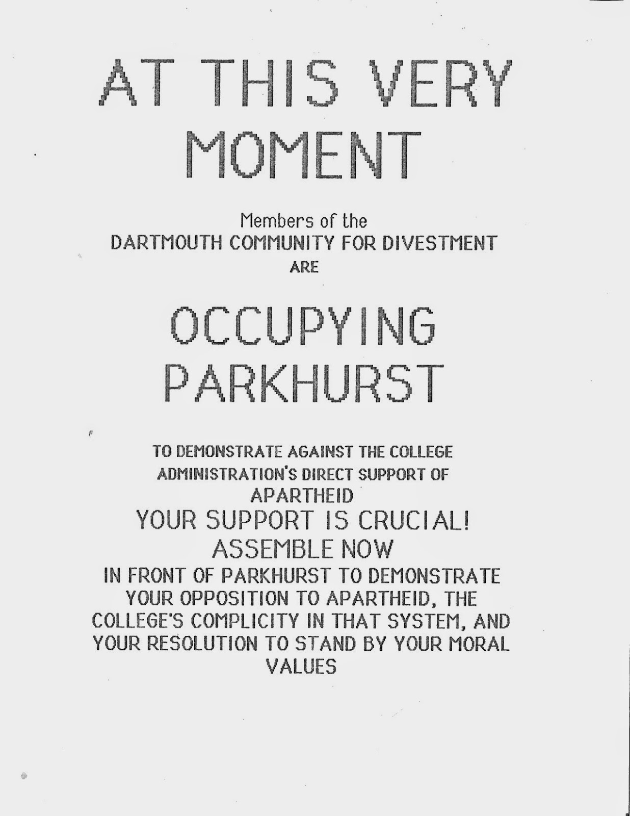 An announcement of occupation.