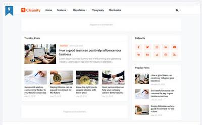 CLEANIFY-Template Blog Profesional, Bersih Dan SEO Dari Templateify