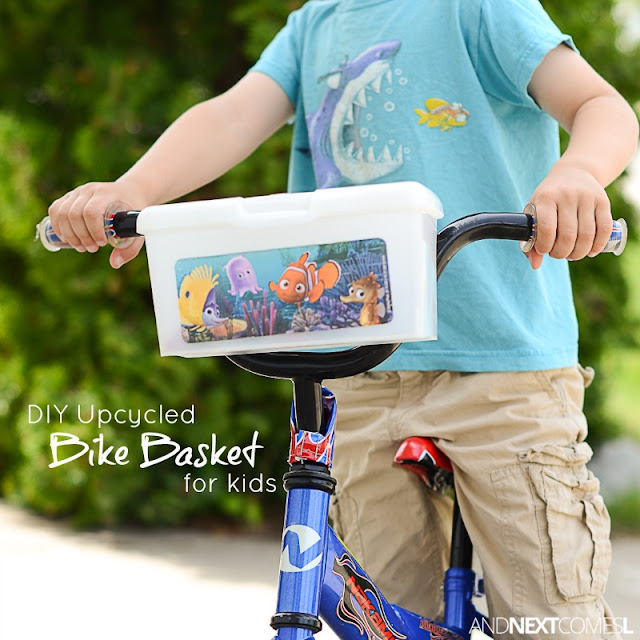 Easy DIY upcycled bike basket for kids from And Next Comes L
