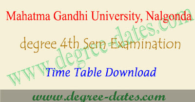 MGU degree 4th sem time table 2018, results