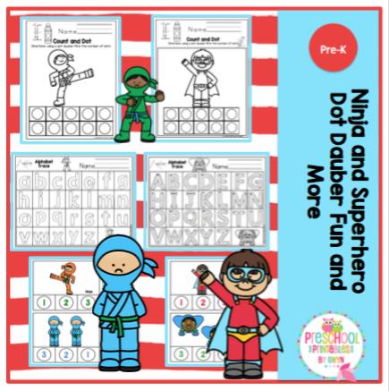 Ninja and Superhero Dot Dauber Fun and More ~ Preschool Printables