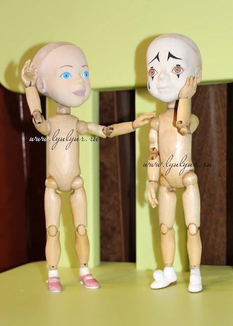 Мальвина, Пьеро, Деревянная шарнирная кукла, Люлюр, Lyulyur, Цапенко Юрий Васильевич