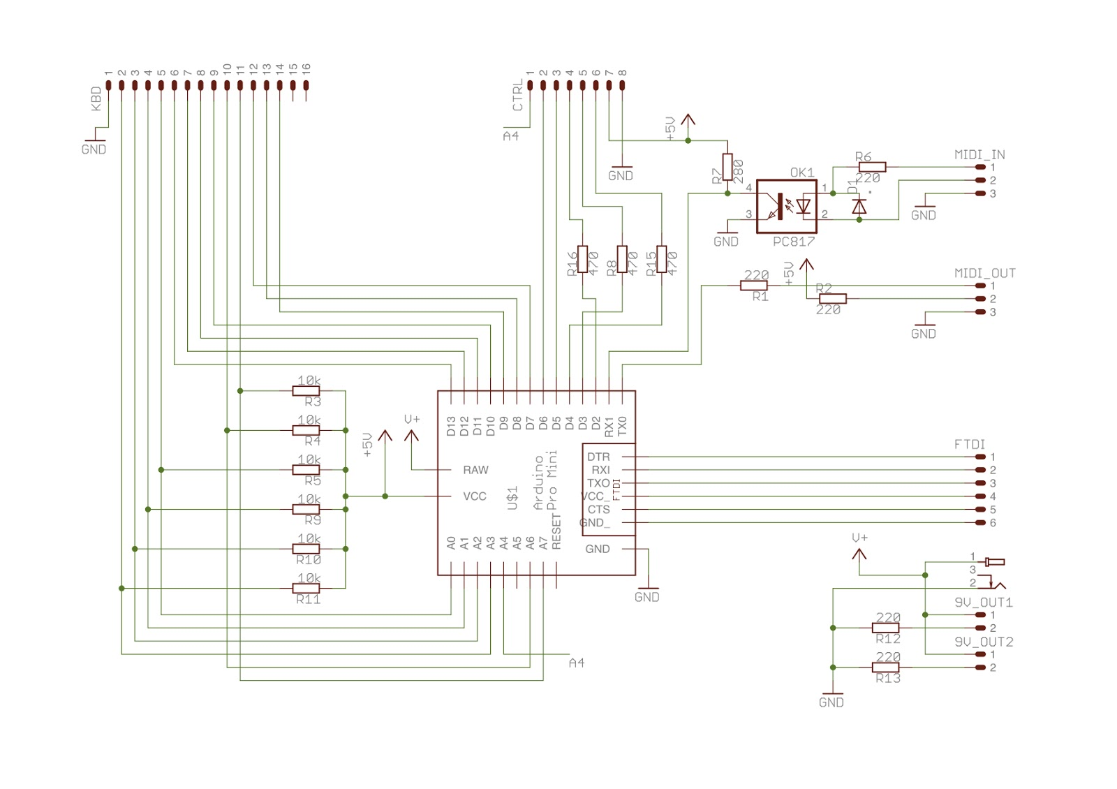 Zaardware Zaarduino Midi Organ Pedals Pedalboard Wiring Diagram In Any Case The Stripboard Plan Was Dropped When I Got Access To A Pcb Prototyping Machine Also Needed An Excuse Learn Eagle And This Is Design