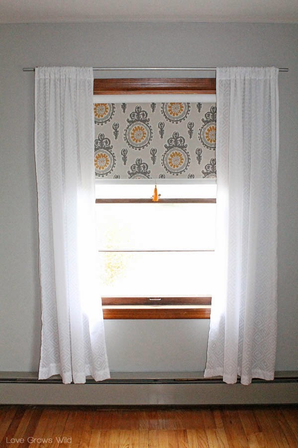 Fabric Covered Roller Shades With Handmade Tassel Love