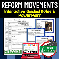 Reform Movements, American History Guided Notes, American History Interactive Notebook, Google and Print, American History Note Taking, American History PowerPoints, American History Anticipatory Guides