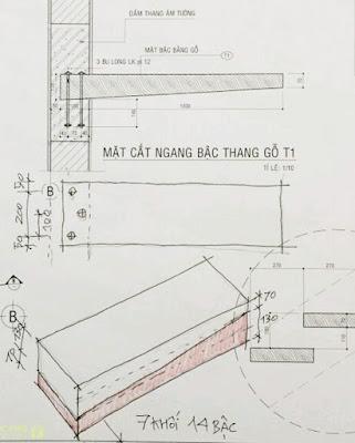 Chi tiết thiết kế bậc thang gỗ