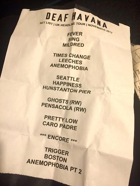 Deaf Havana 2017 UK tour set list