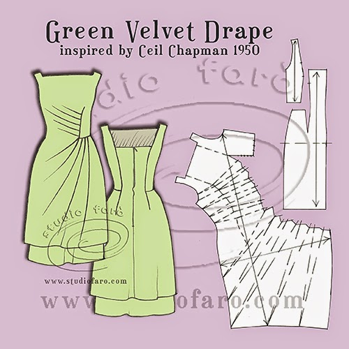 Well Suited Pattern Puzzle Green Velvet Drape