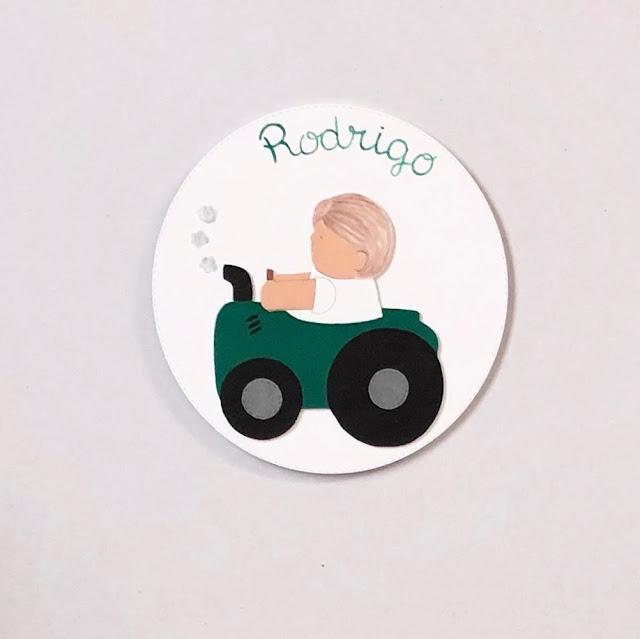 placa puerta infantil personalizada dibujo tractor