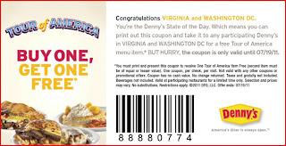 Denny's: Tour of America BOGO/B1G1 Free Coupon