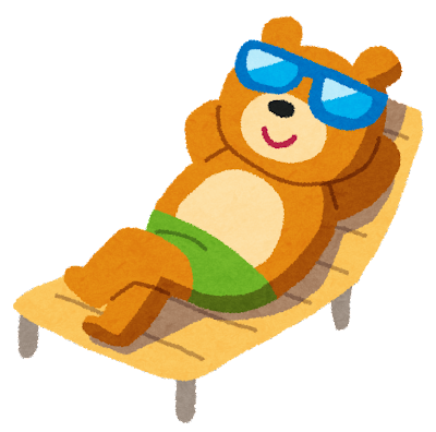 ビーチベッドでくつろぐクマのイラスト