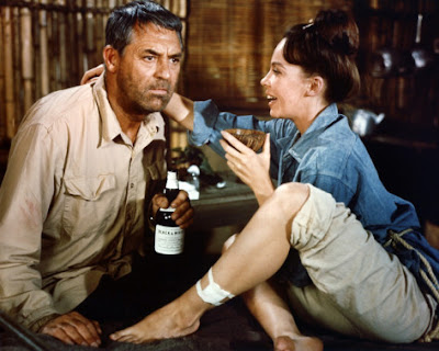 Cary Grant and Leslie Caron in a scene from the 1964 film Father Goose.