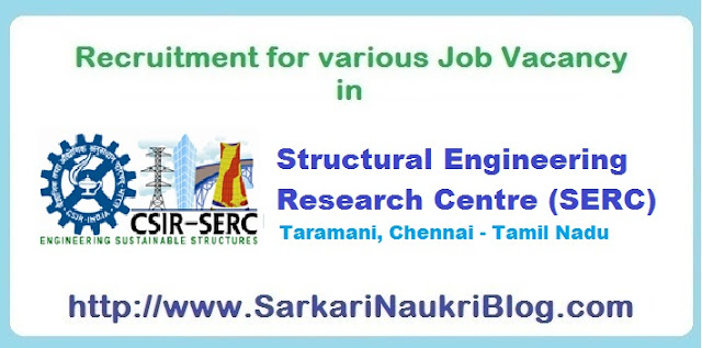 Naukri Vacancy Recruitment SERC Chennai