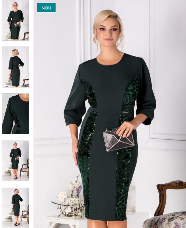 Rochie eleganta marime mare conica cu paiete verde 3XL(46) 4XL(48) 5XL(50) 6XL(52)