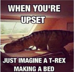 T-Rex making bed, t rex tiny arm, dinosaur comic, dinosaur funny, trex comic