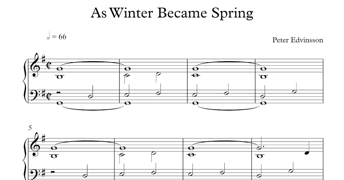 free easy piano sheet music as winter became spring by. Black Bedroom Furniture Sets. Home Design Ideas