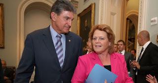 Photo of West Virginia Senator Joe Manchin III and North Dakota Senator Heidi Heitkamp
