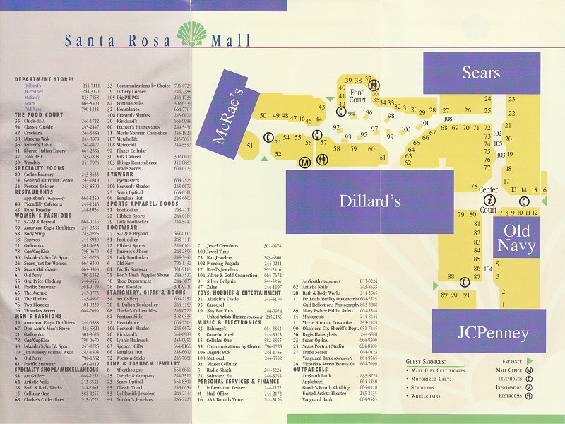Mary Ester Florida Map.The Mallmanac All Mallmanac Santa Rosa Mall Mary Esther Fl